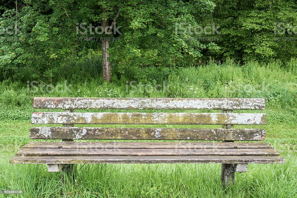 Speckled bench stock photo