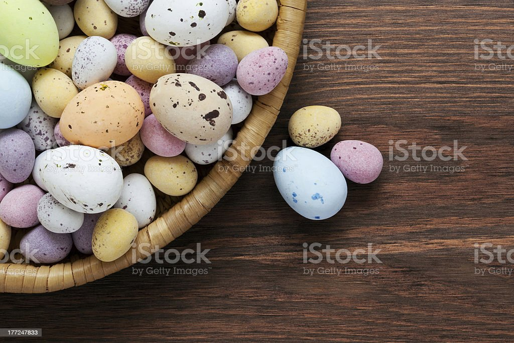 Speckled chocolate easter eggs in a basket stock photo