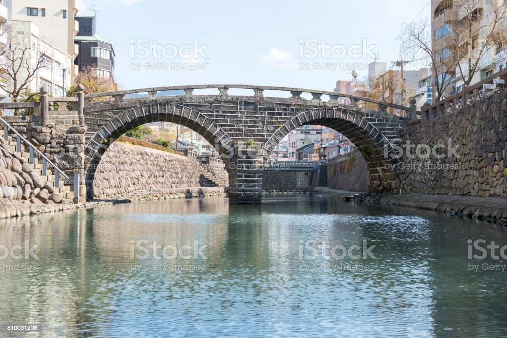 Spectacle bridge, nagasaki japan stock photo