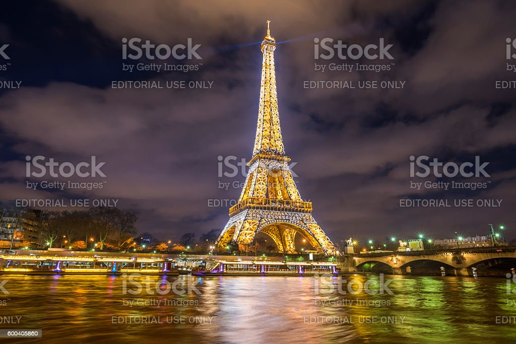 Spectacle of lights in Paris at the Eiffel Tower stock photo