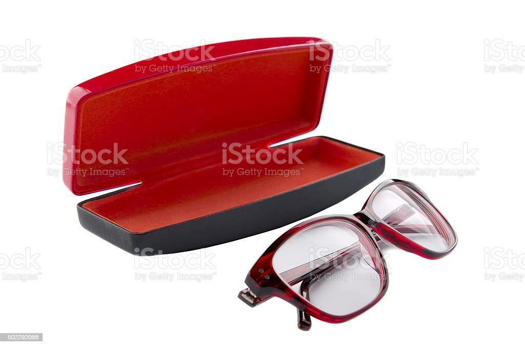 Spectacles and Case for glasses on a white background stock photo