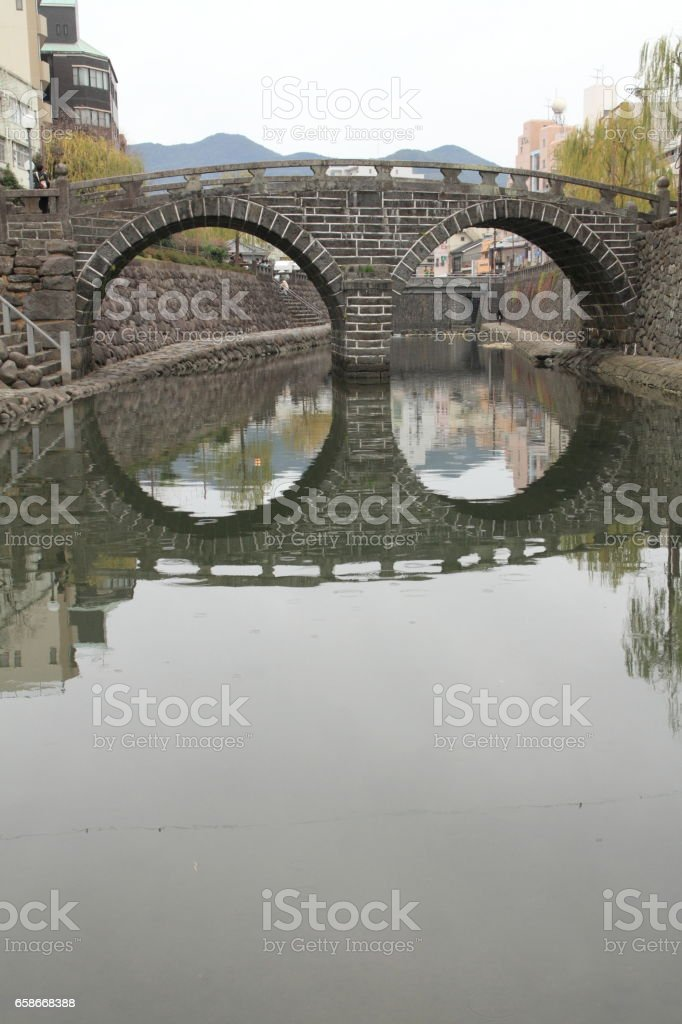 Spectacles bridge in Nagasaki, Japan stock photo