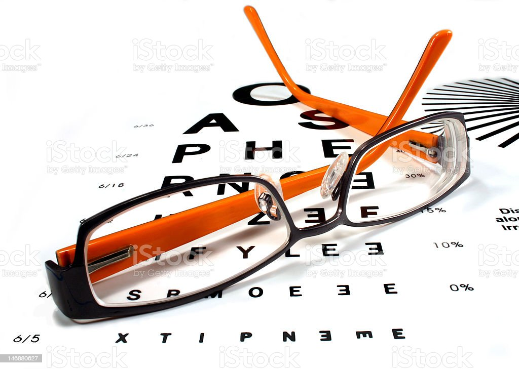 Spectacles with eye chart royalty-free stock photo