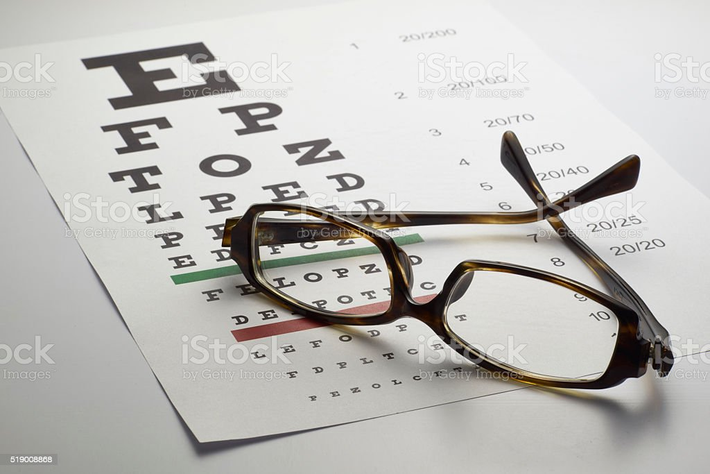 Spectacles with eye chart stock photo