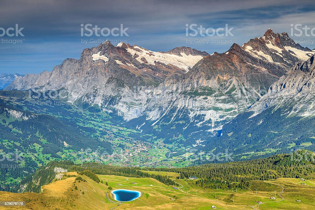 Spectacular alpine landscape with turquoise mountain lake,Switzerland,Europe stock photo