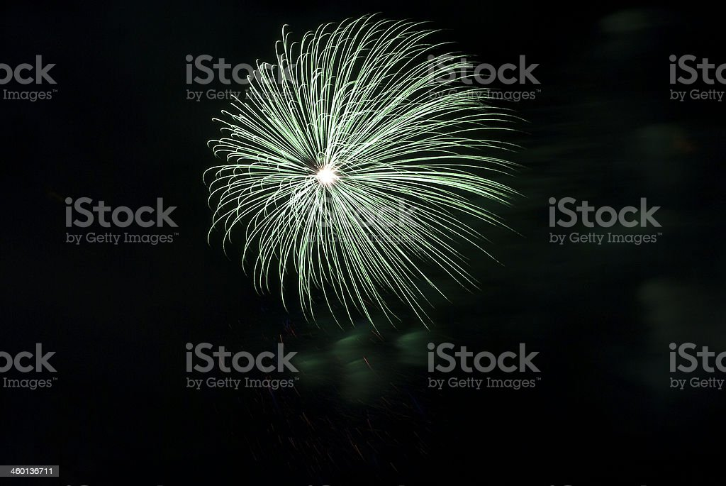 spectacular bright green fireworks royalty-free stock photo