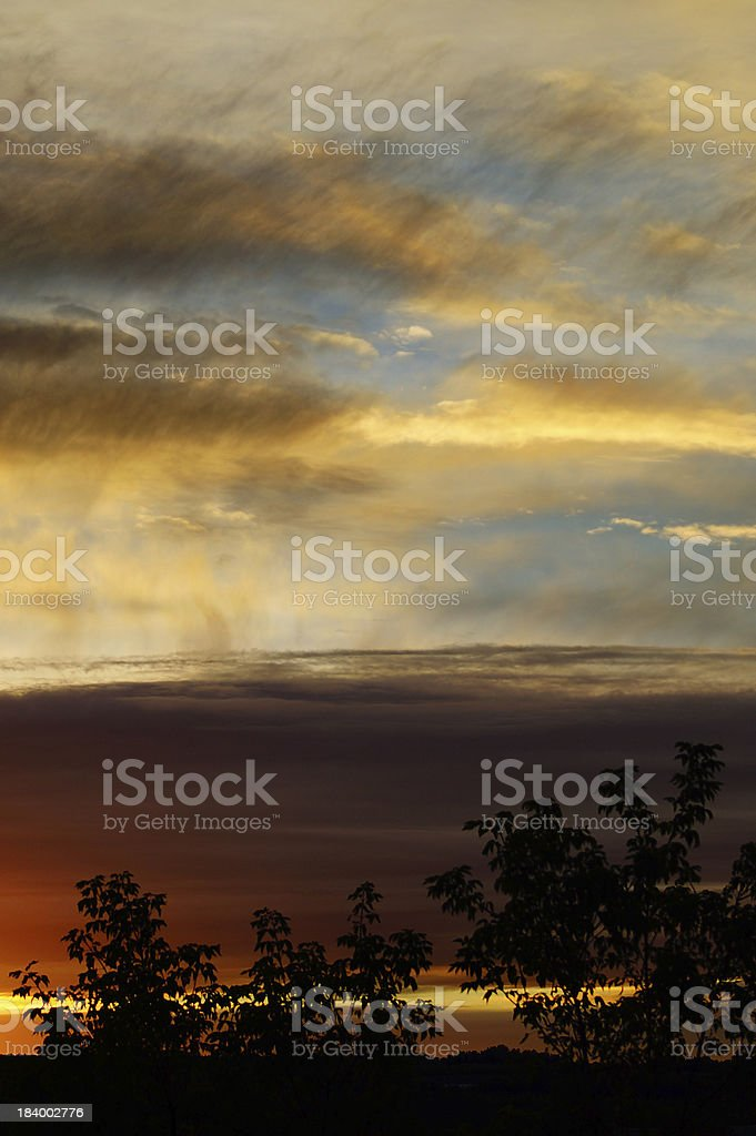 Spectacular, cloudy stormy sky at sunset, Quebec, Canada royalty-free stock photo