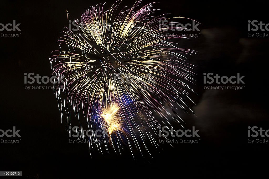 spectacular colorful fireworks royalty-free stock photo