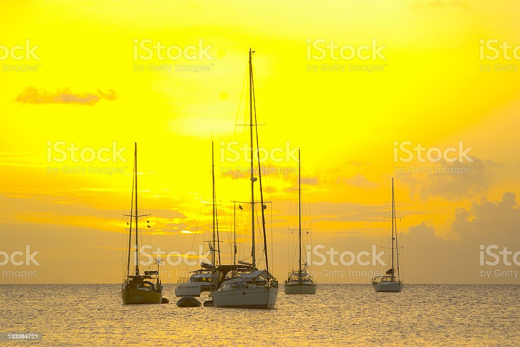 spectacular exotic golden summer sunset with yachts sailing stock photo