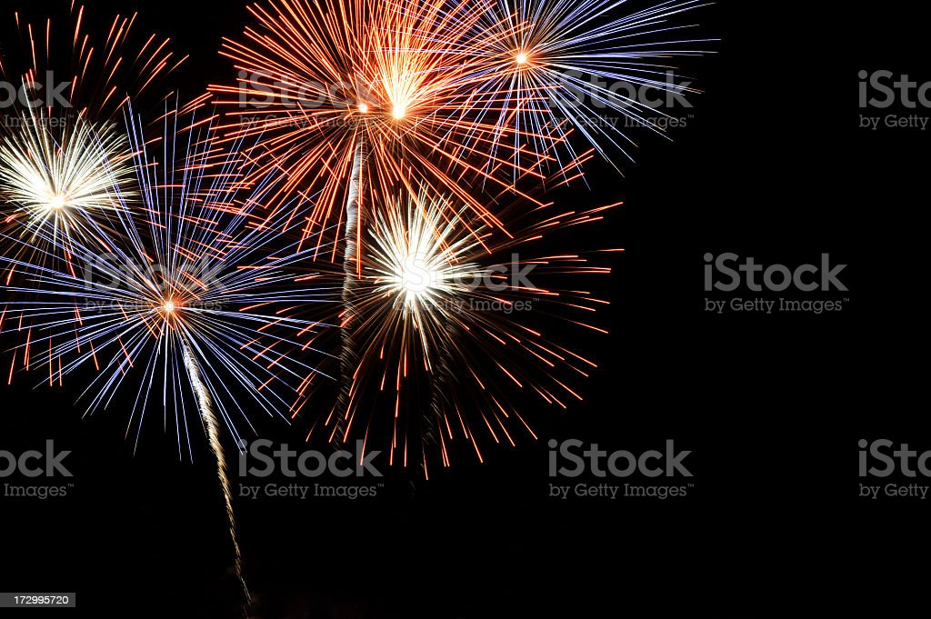 A spectacular fireworks at night royalty-free stock photo