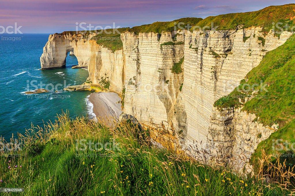 Spectacular la Manneporte natural rock arch wonder,Etretat,Normandy,France stock photo