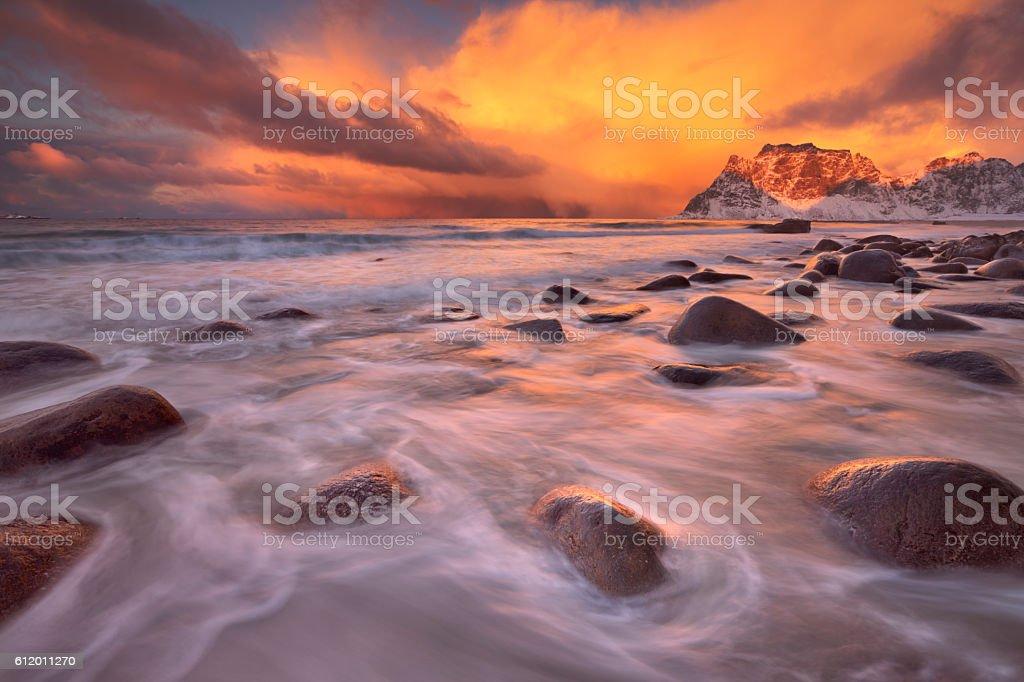 Spectacular light at Uttakleiv beach on the Lofoten, Norway stock photo