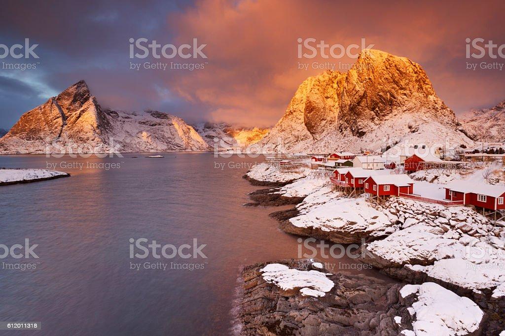 Spectacular light over Reine village on the Lofoten, Norway stock photo