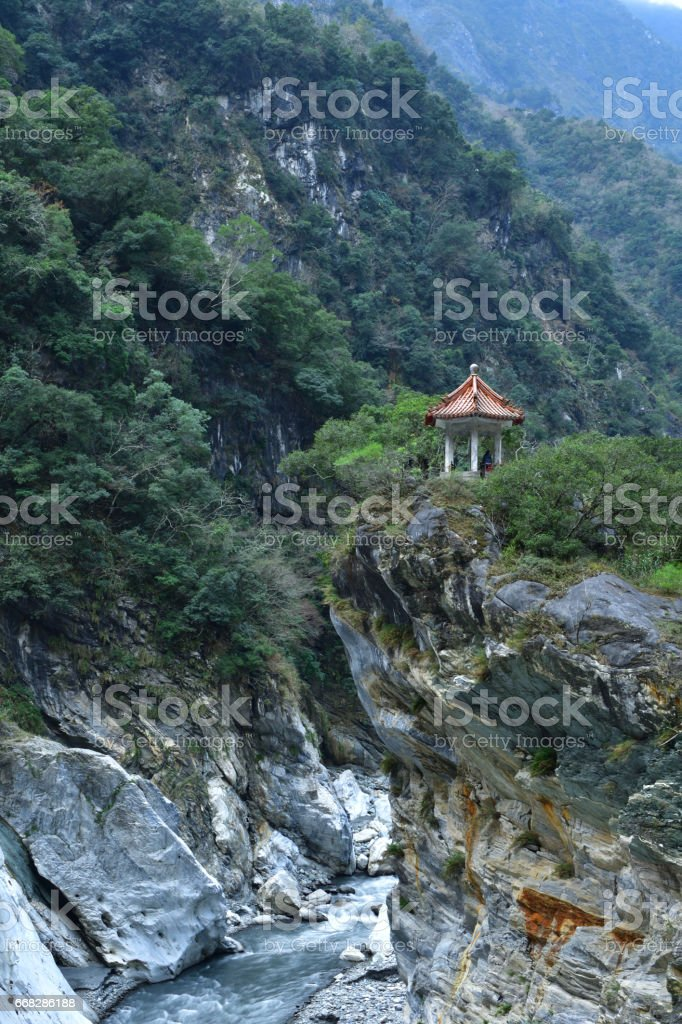 Spectacular mountain valley and cliff stock photo