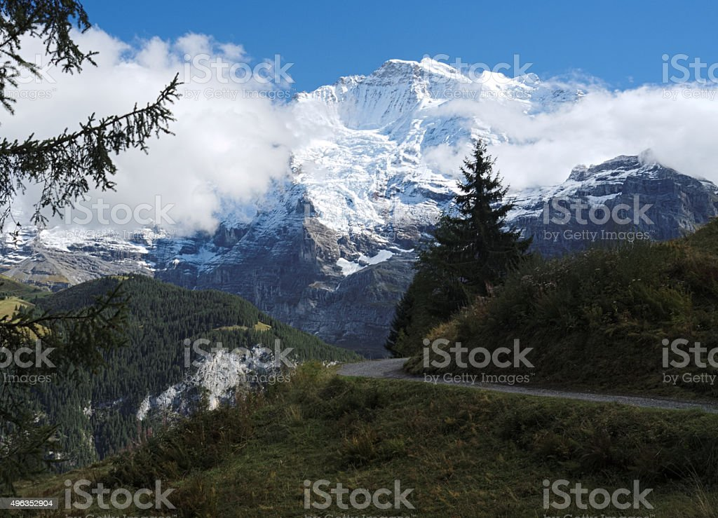 Spectacular mountain views surrounding Murren (Berner Oberland, Switzerland) stock photo