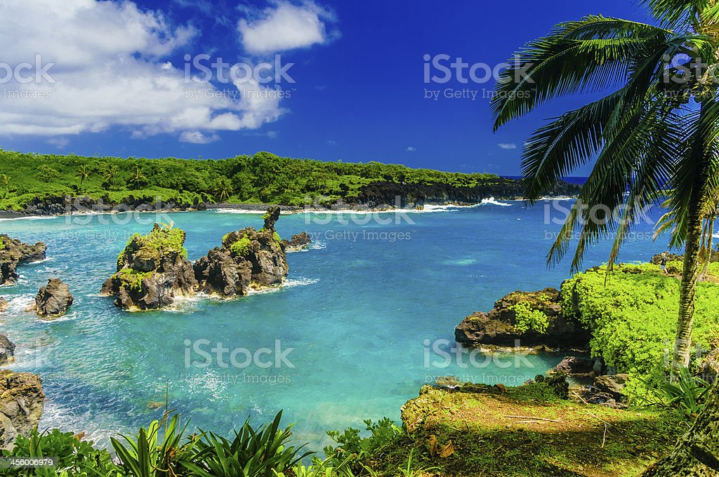 Spectacular ocean view on the Road to Hana, Maui, Hawaii. royalty-free stock photo