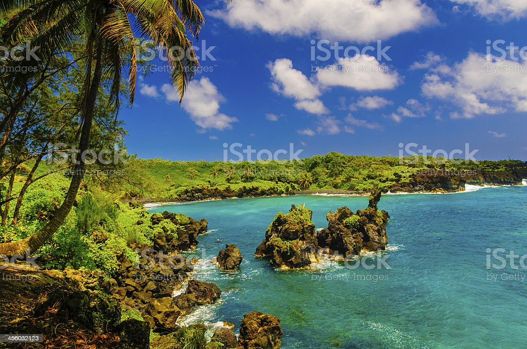 Spectacular ocean view on the Road to Hana, Maui, Hawaii. stock photo