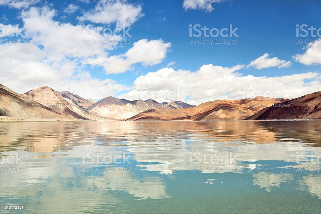 Spectacular Pangong Tso (Pangong Lake) Cloudscape, Ladakh, India stock photo