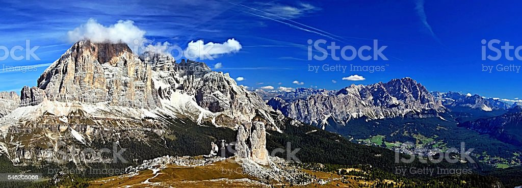 spectacular panorama from Nuvolau mountain peak in Dolomites stock photo