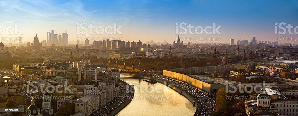 Spectacular panorama of Moscow city with golden river at sunset stock photo