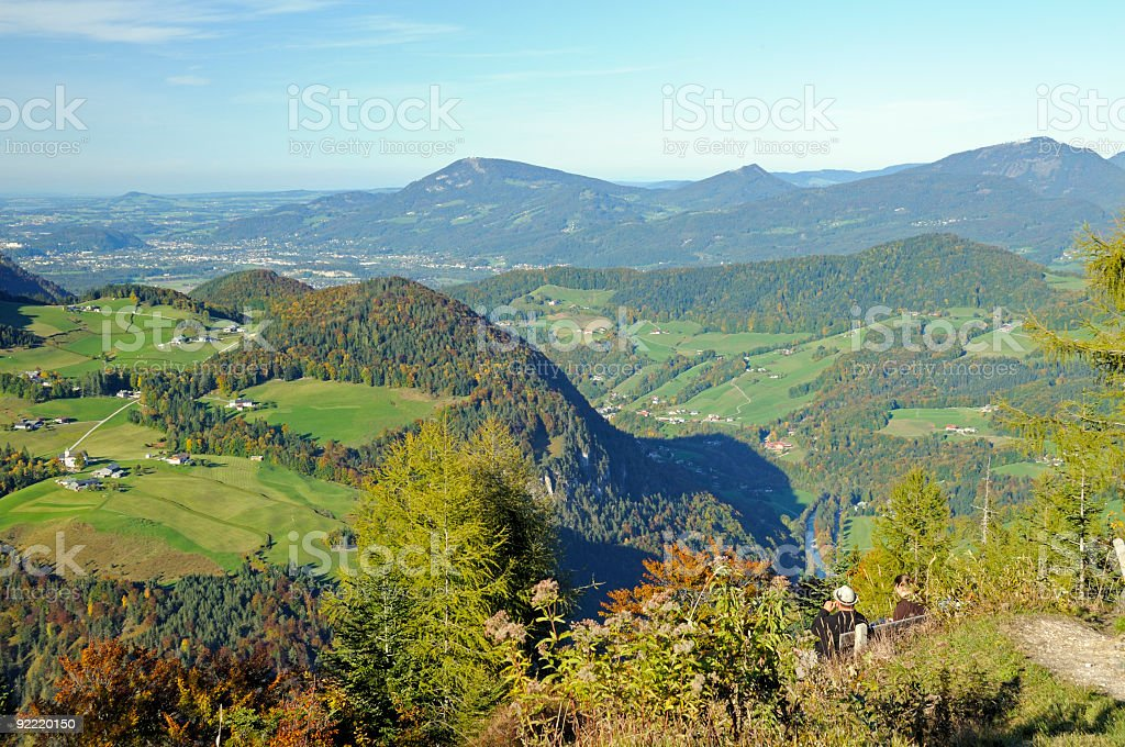 Spectacular, panoramic view of the beautiful autumn alpine landscape royalty-free stock photo