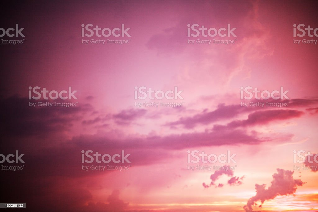 Spectacular purple and orange sunset stock photo