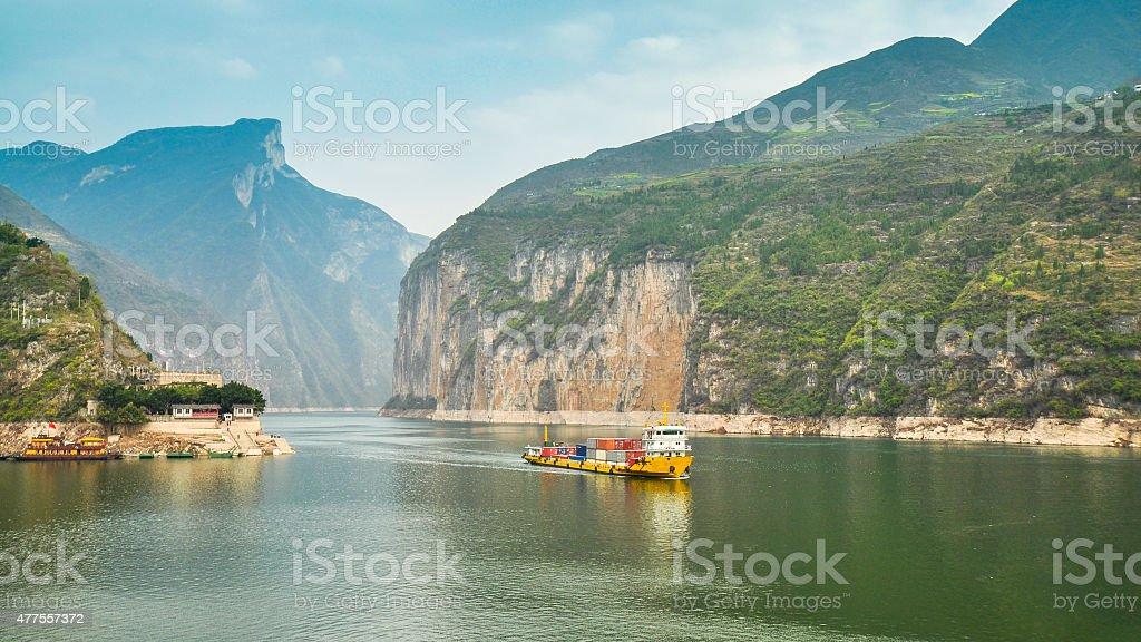 Spectacular Qutang Gorge and Yangtze River stock photo