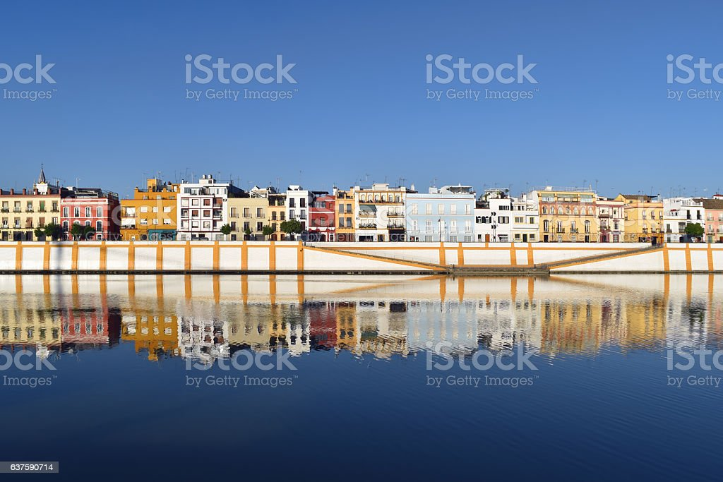 Spectacular river view of Triana in Seville, Spain stock photo