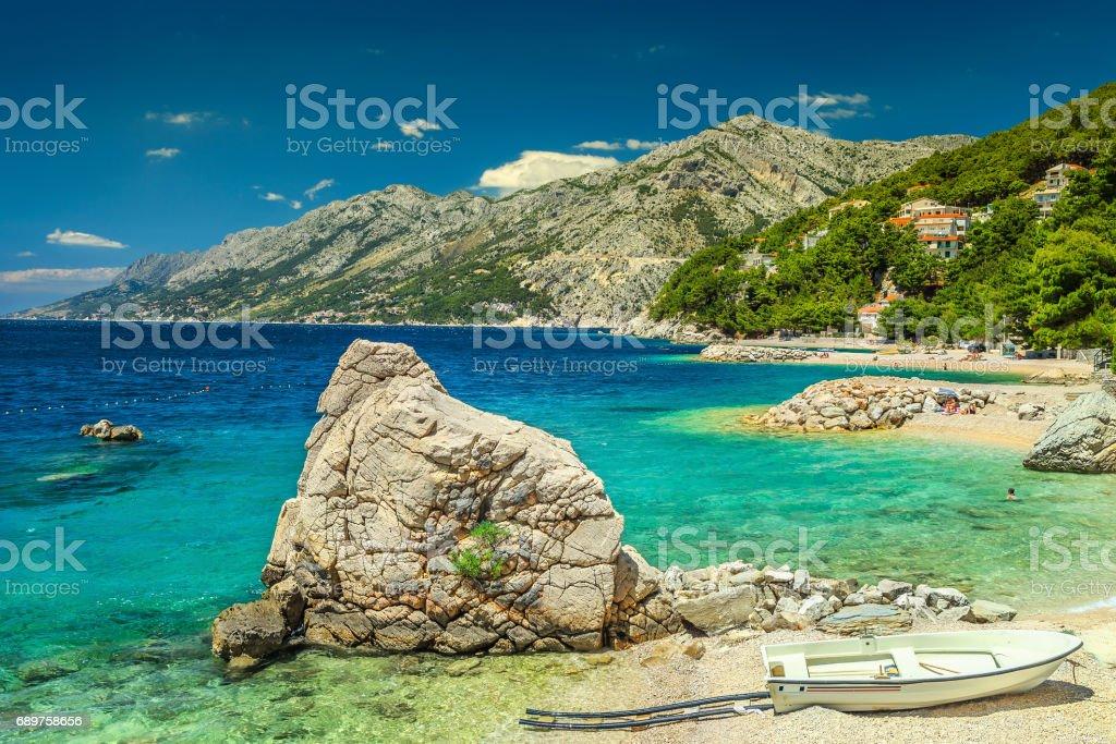 Spectacular seaside with high mountains in background, Brela, Dalmatia, Croatia stock photo