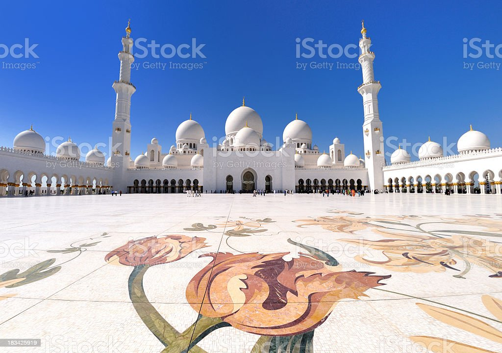 spectacular Sheikh Zayed Grand Mosque stock photo