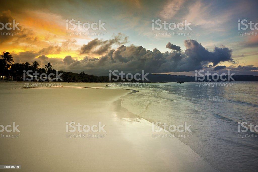 spectacular sunrise boracay island stock photo