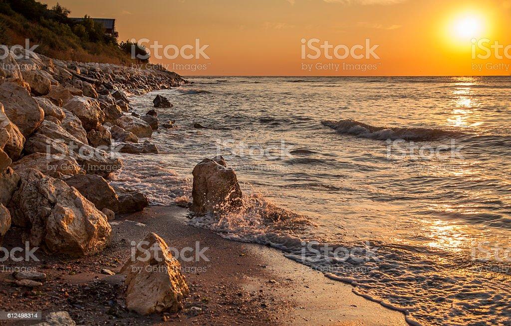 Spectacular sunrise on Black Sea stock photo