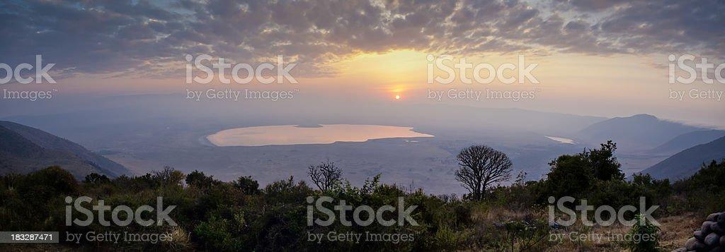 Spectacular Sunrise Over Ngorongoro Crater Tanzania East Africa stock photo