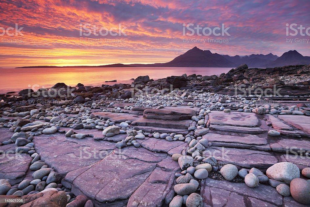 Spectacular sunset at the Elgol beach, Isle of Skye, Scotland stock photo