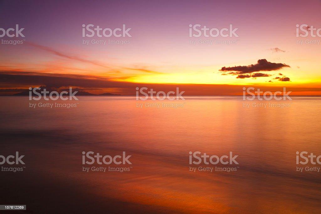 Spectacular Sunset Close To Montserrat stock photo
