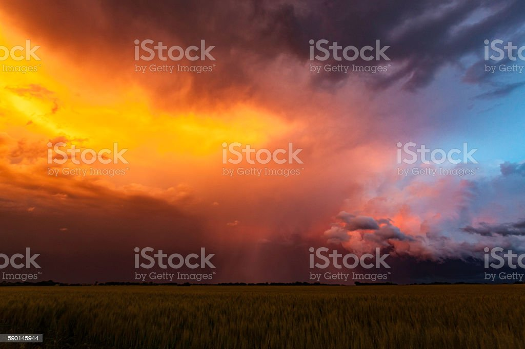 Spectacular sunset colours on storm clouds in Tornado Alley stock photo