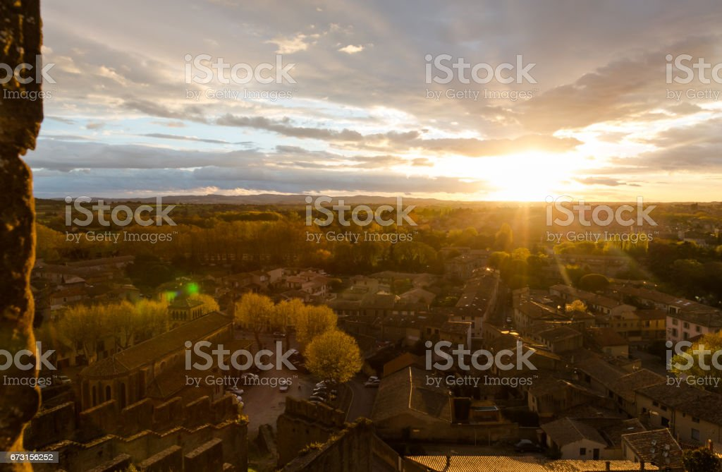 Spectacular sunset in Carcassonne. View from medieval village on town in bottom stock photo