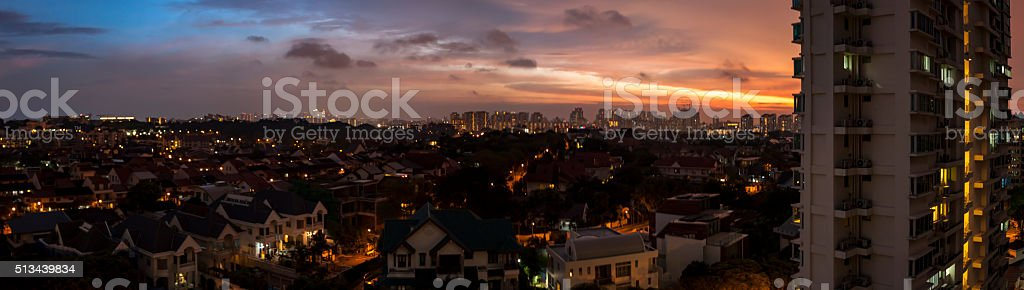 Spectacular sunset of Serangoon, Singapore stock photo