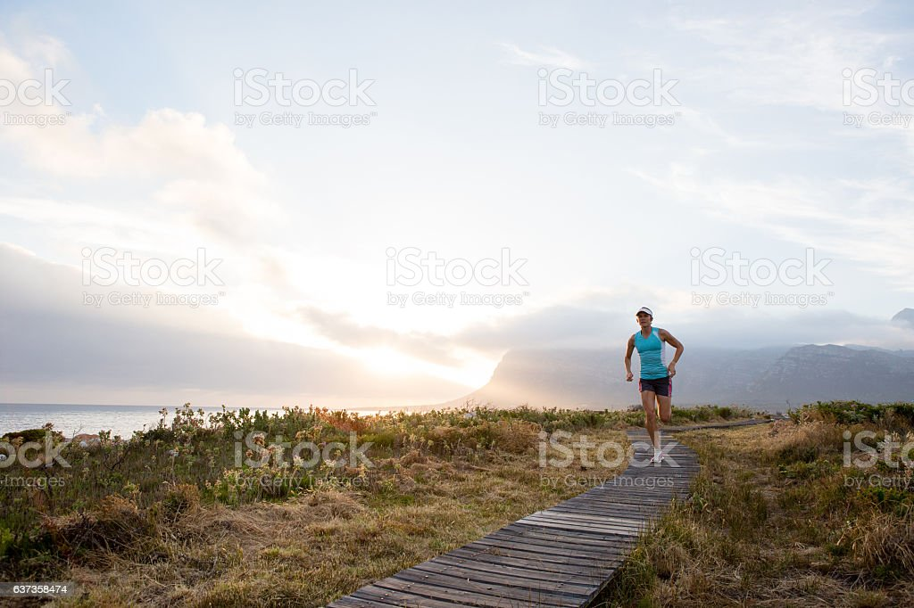 Spectacular sunset on my jog on the path stock photo