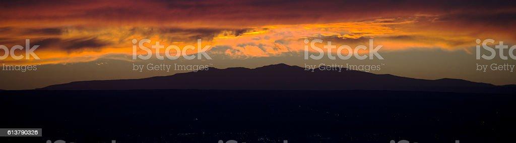 Spectacular Sunset over Extenct High Desert Volcano, Senic Landscape Banner stock photo