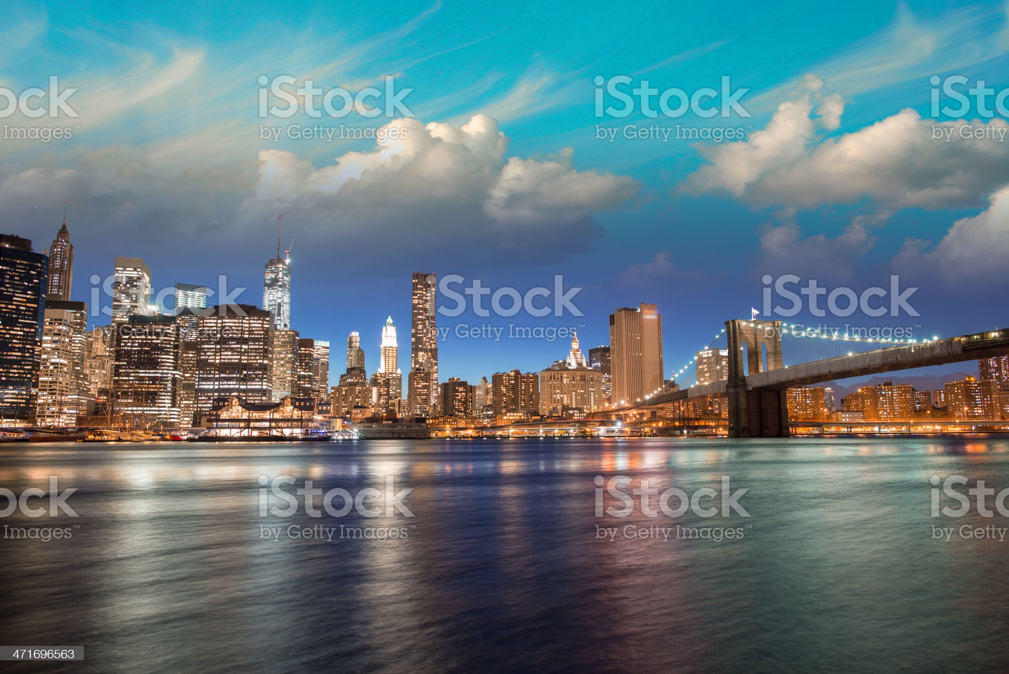 Spectacular sunset view of lower Manhattan skyline from Brooklyn royalty-free stock photo