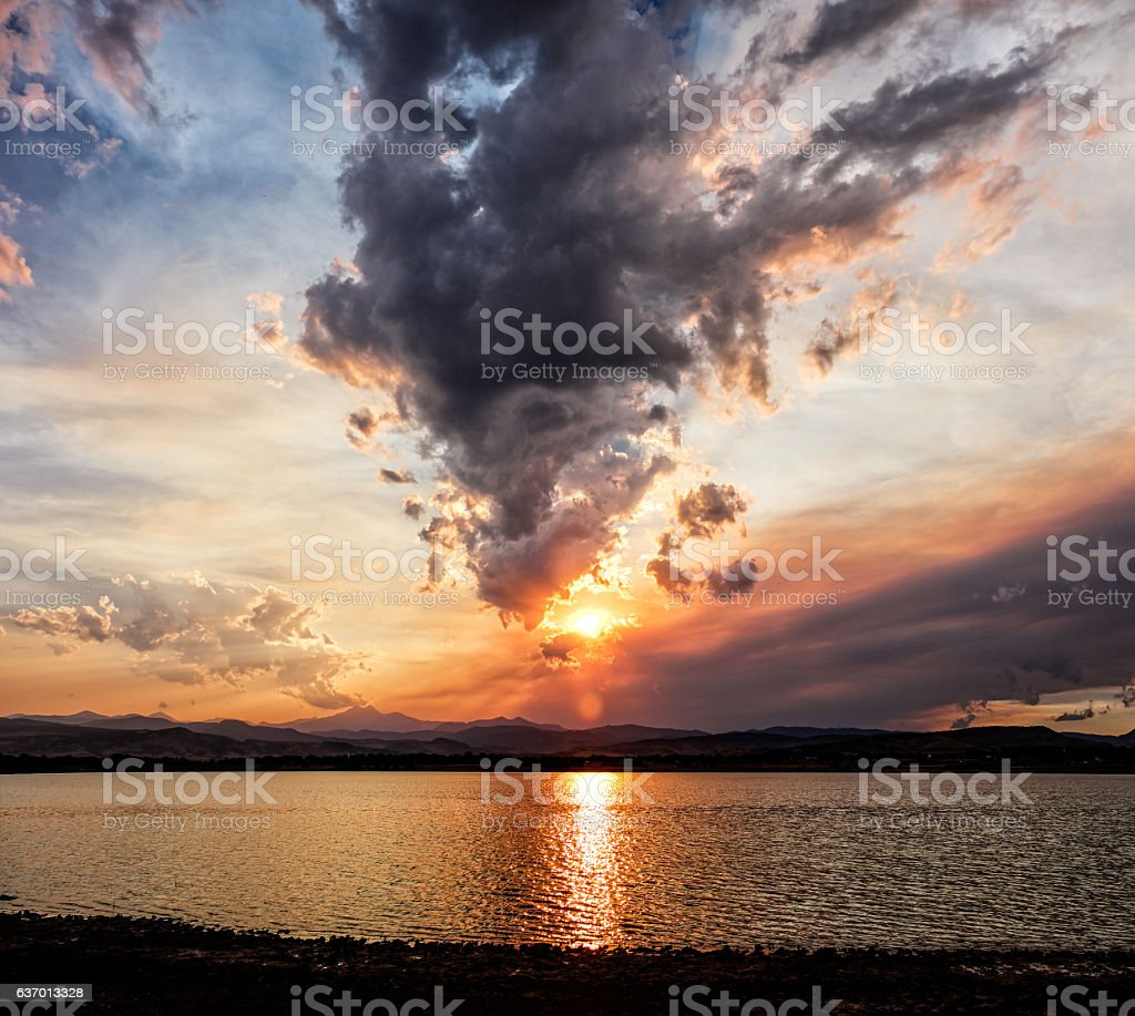 Spectacular sunset with clouds at the Colorado Front Range stock photo