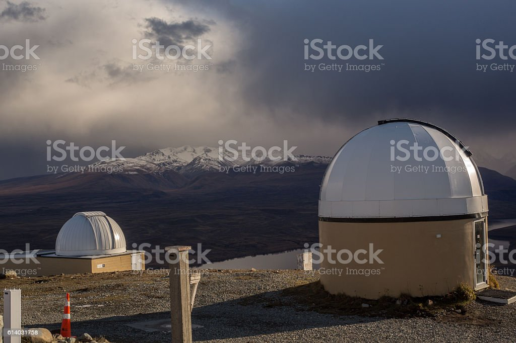Spectacular view from Mt John observatory stock photo