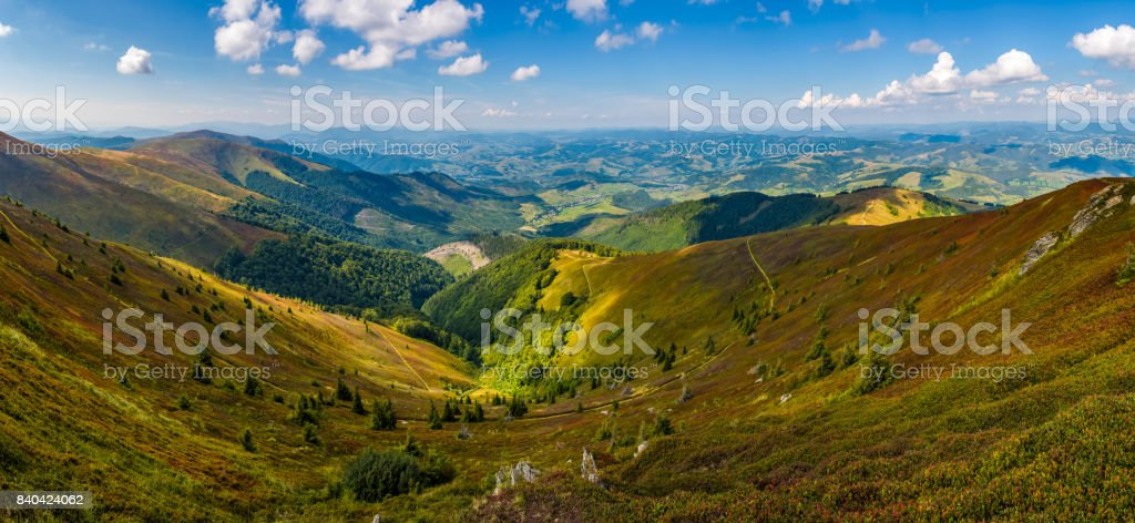 spectacular view from the top of mountain ridge stock photo