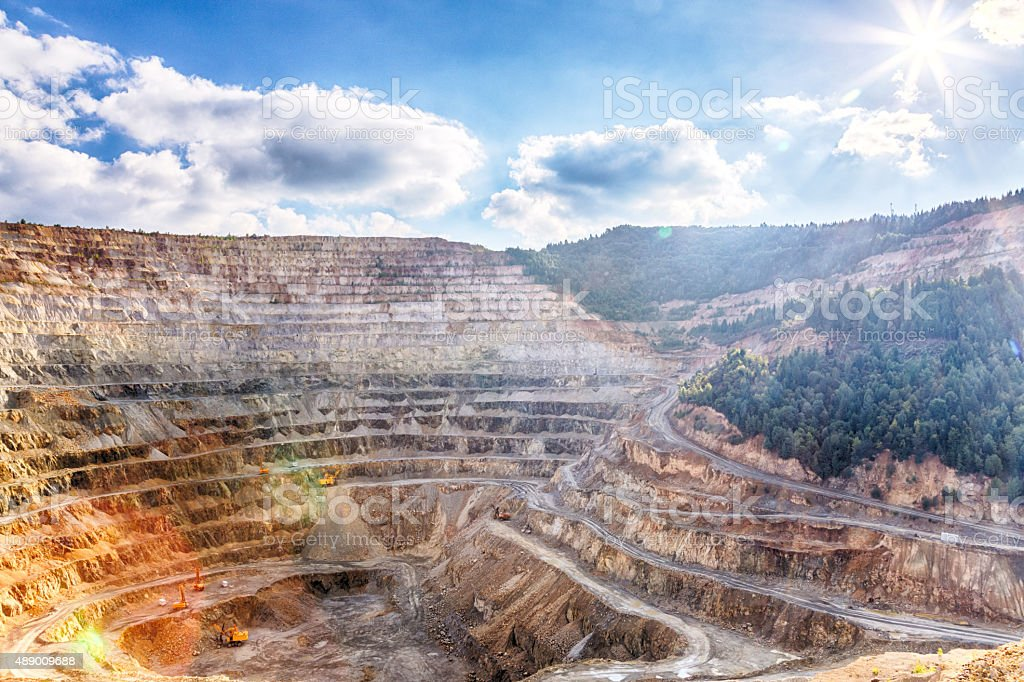 Spectacular view of an open-pit mine stock photo