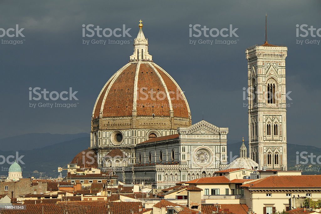 spectacular view of the cathedral in Florence stock photo