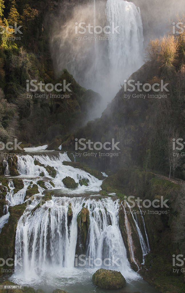 Spectacular view of the Marmore Falls (Cascata delle Marmore) stock photo