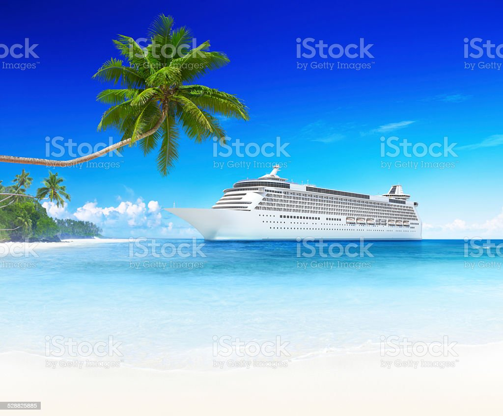 Spectacular view with 3D cruise ship stock photo