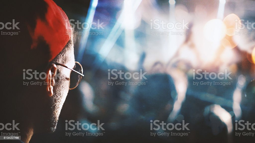 Spectator at a party. stock photo
