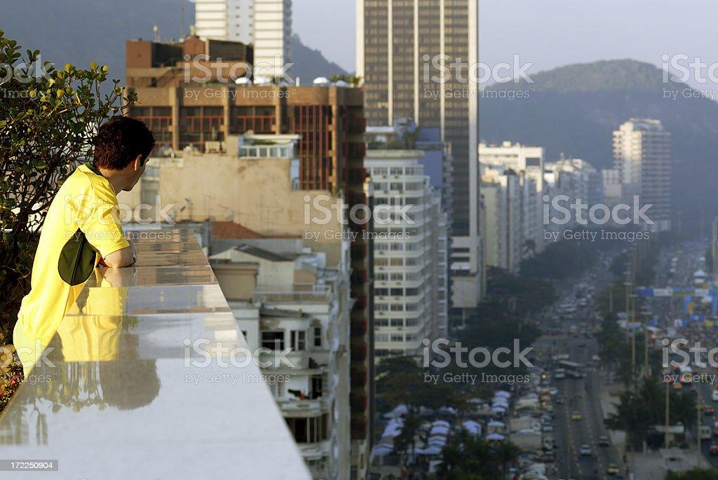 Spectator over Copacobana stock photo